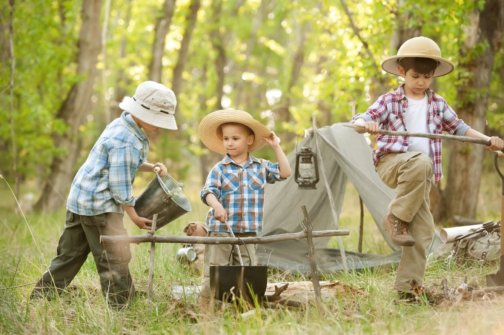 Boys in a camping trip