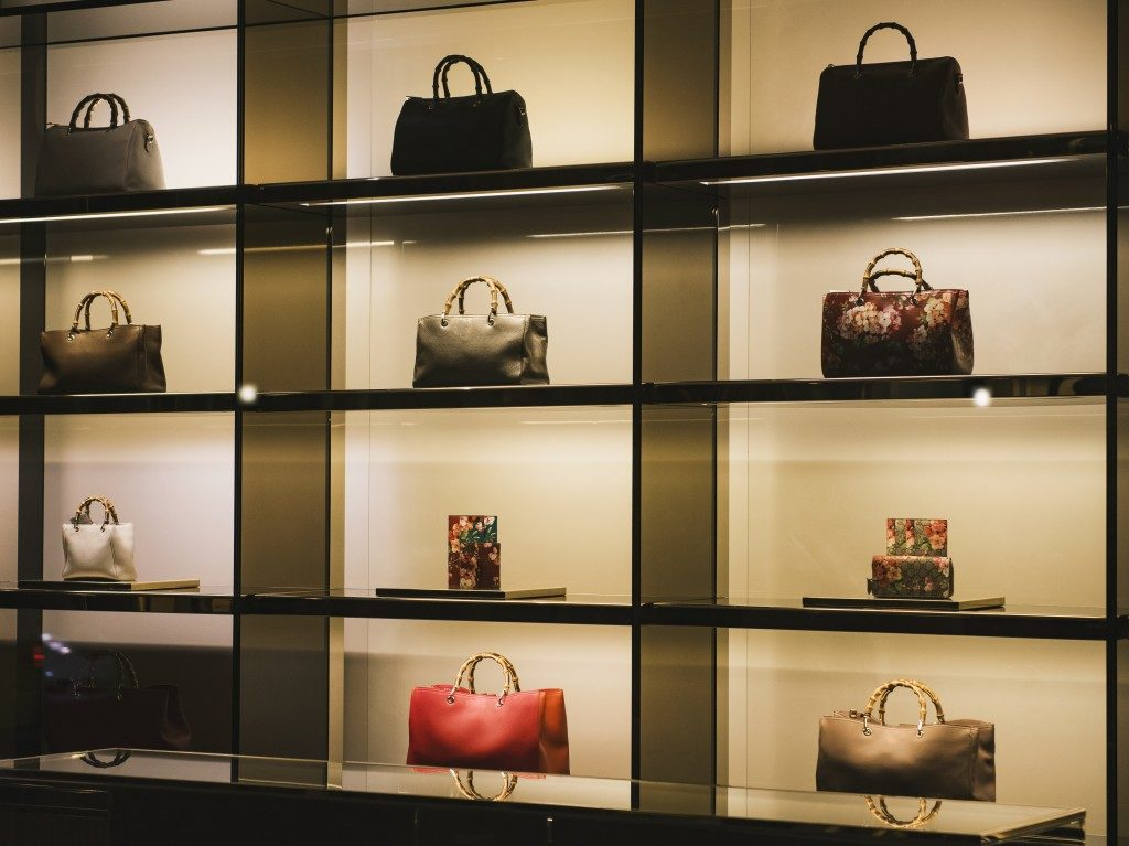 Handbags in a store