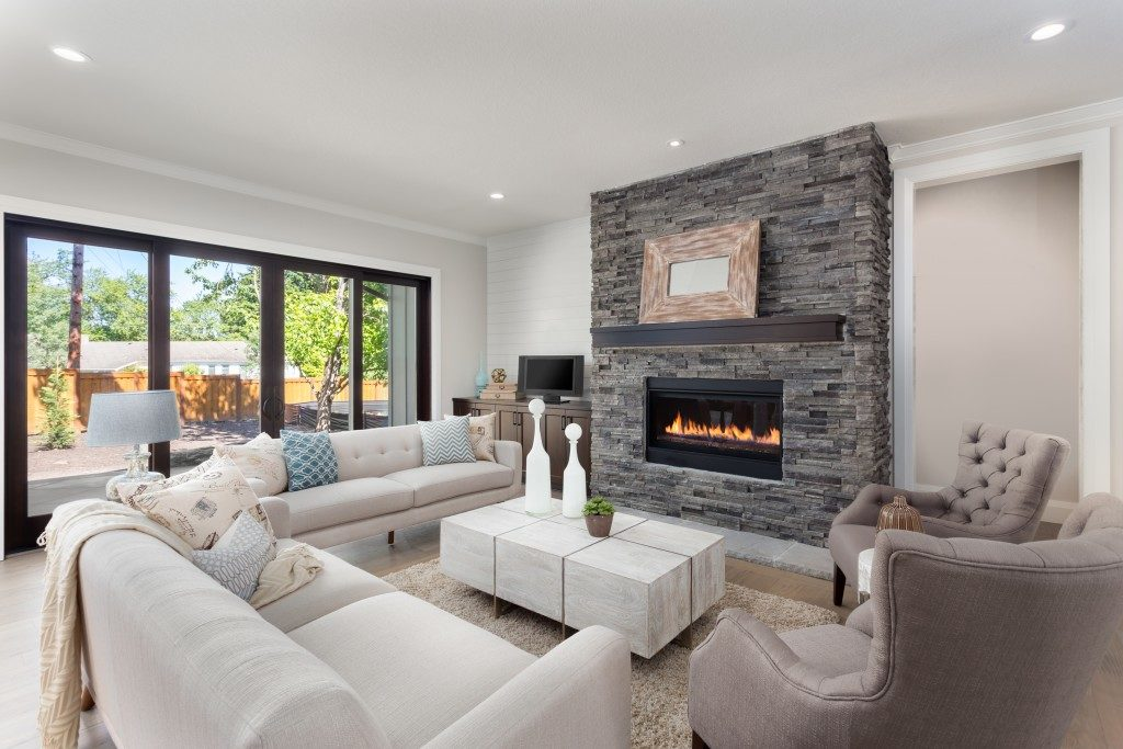 modernised living room with a fireplace