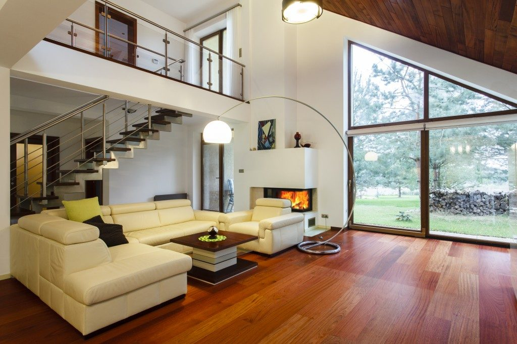 living room under the staircase