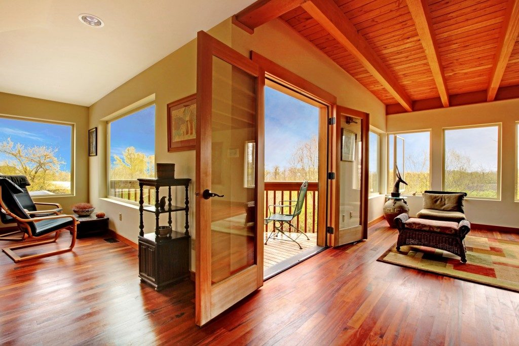 Wooden ceiling and wooden floor