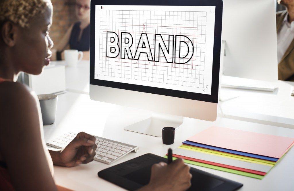 Woman designing brand