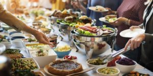 Food catering at a party