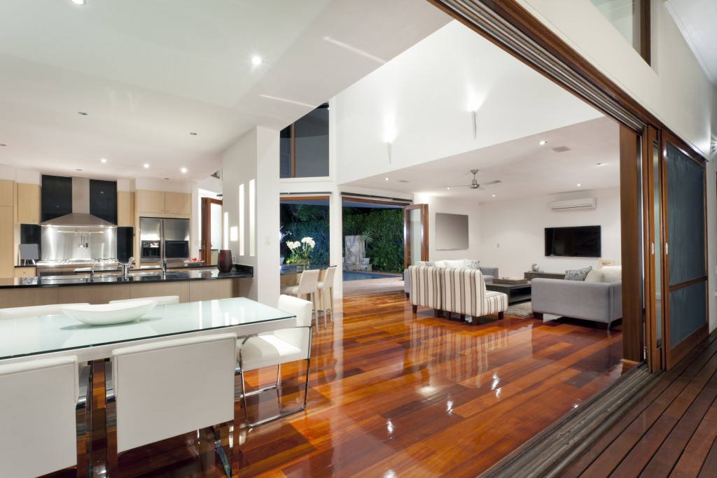 luxurious white and wood home interior