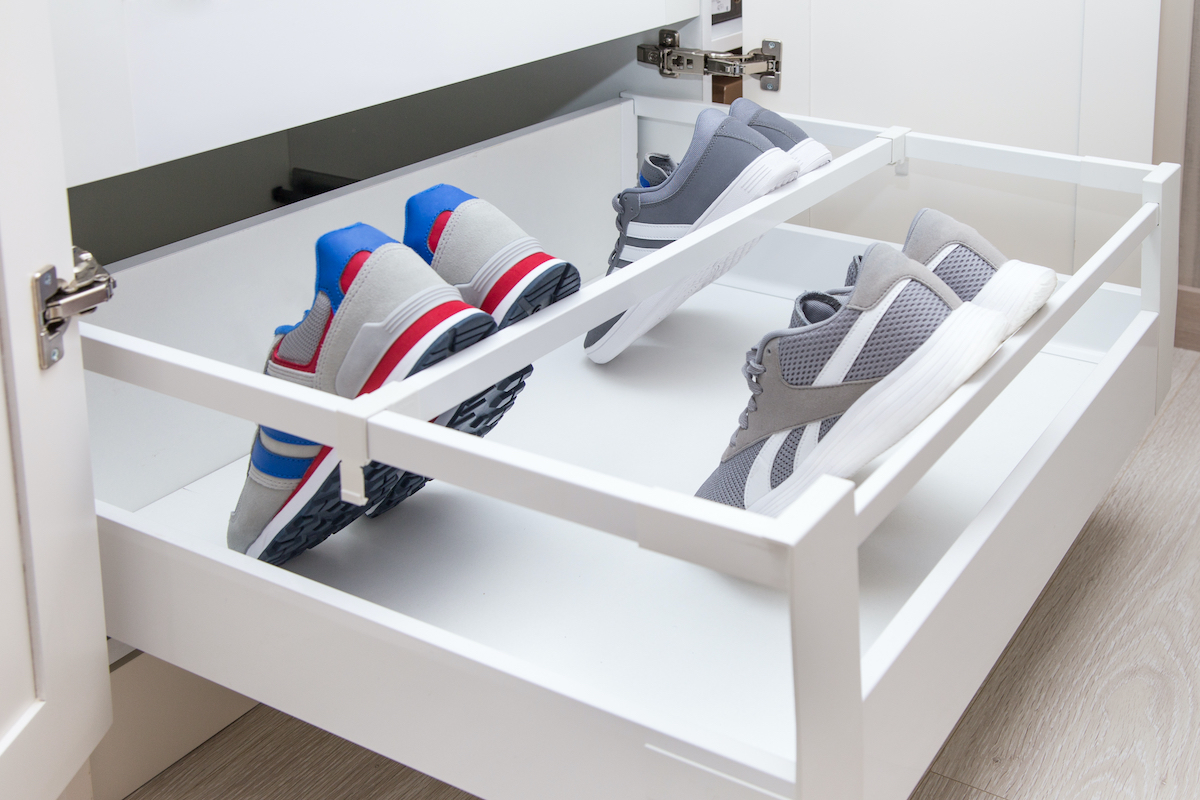 sneakers in a drawer