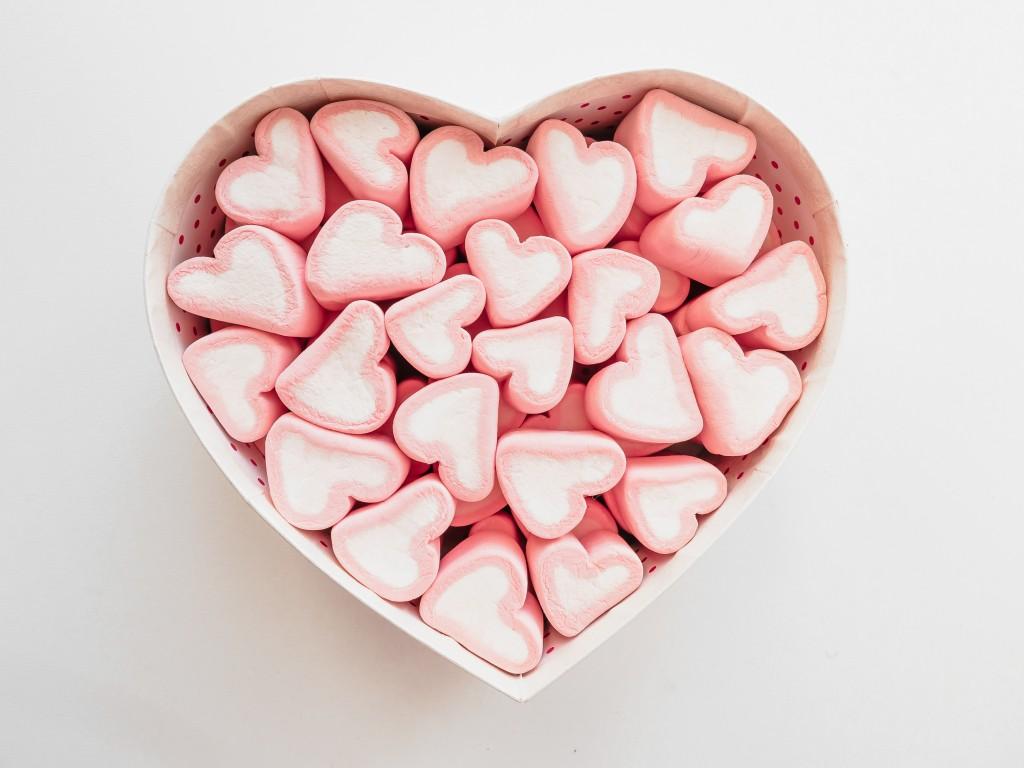 heart-shaped marshmallows