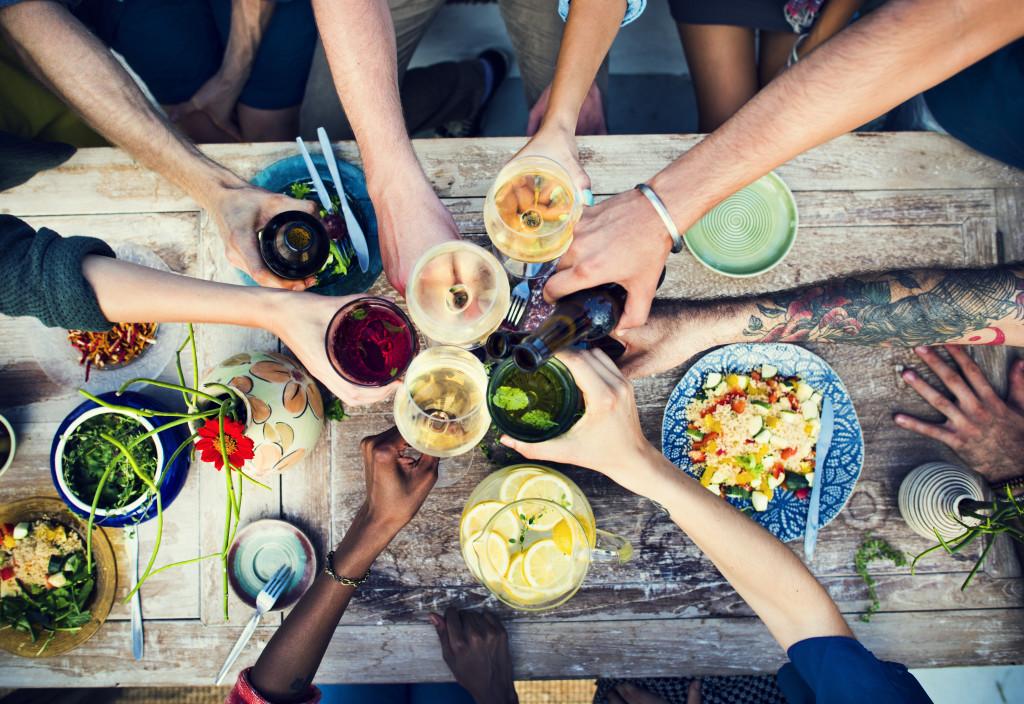 people eating organic meal